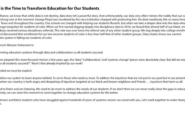 Message from E3 Alliance: Now is the Time to Transform Education for Our Students